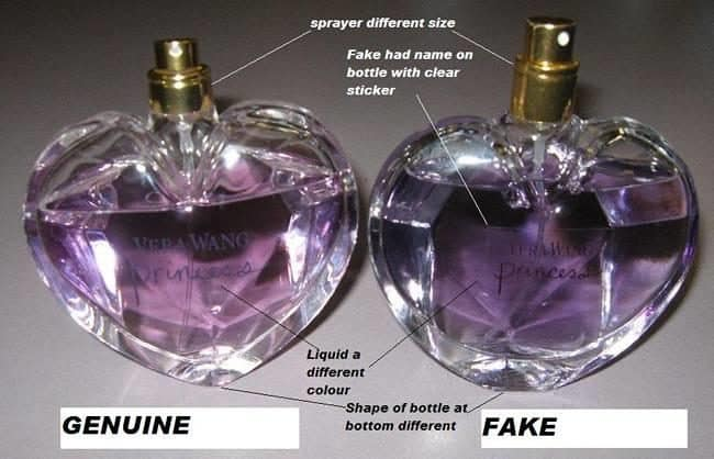 Comparison of fake to real perfume