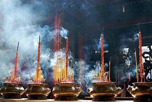 Incense sticks in pagoda
